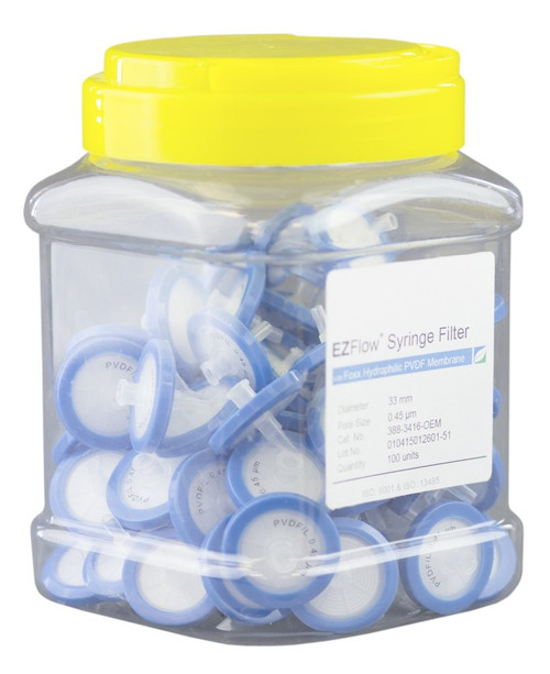EZFlow 33mm Syringe Filter-Sample Prep, 0.45um, Hydrophilic PVDF, 388-3416-OEM-1