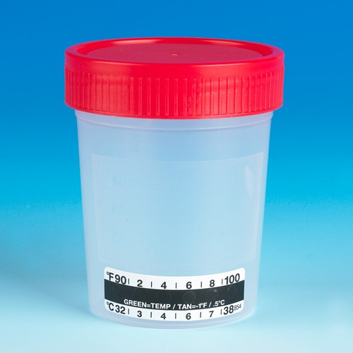 Specimen Container with Temperature Strip - 4 oz
