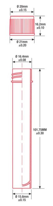 sterile 10ml transport tube 16 x 100mm