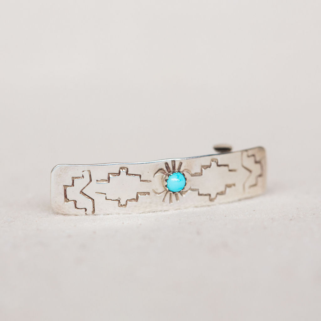 Navajo : Sterling Silver and Turquoise Kid's Barrette