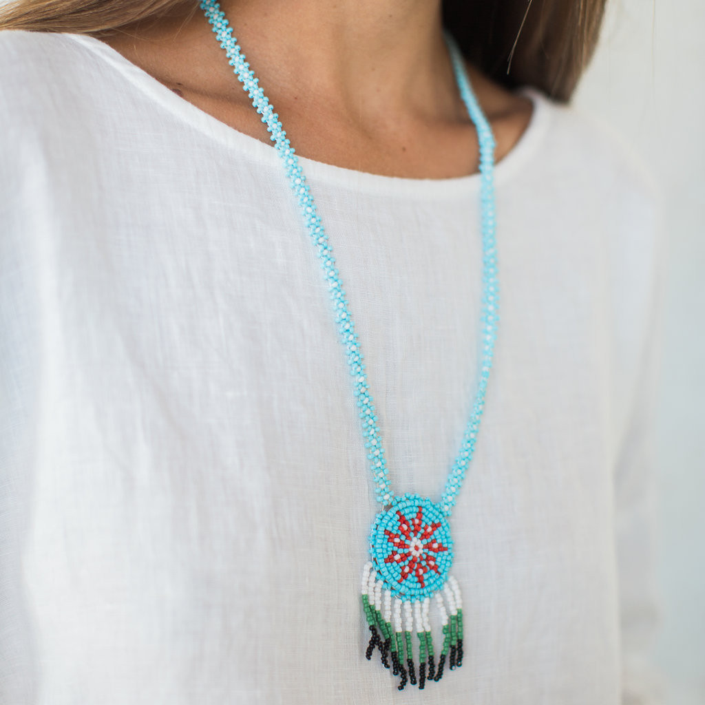 Vintage : Beaded Medallion Necklace