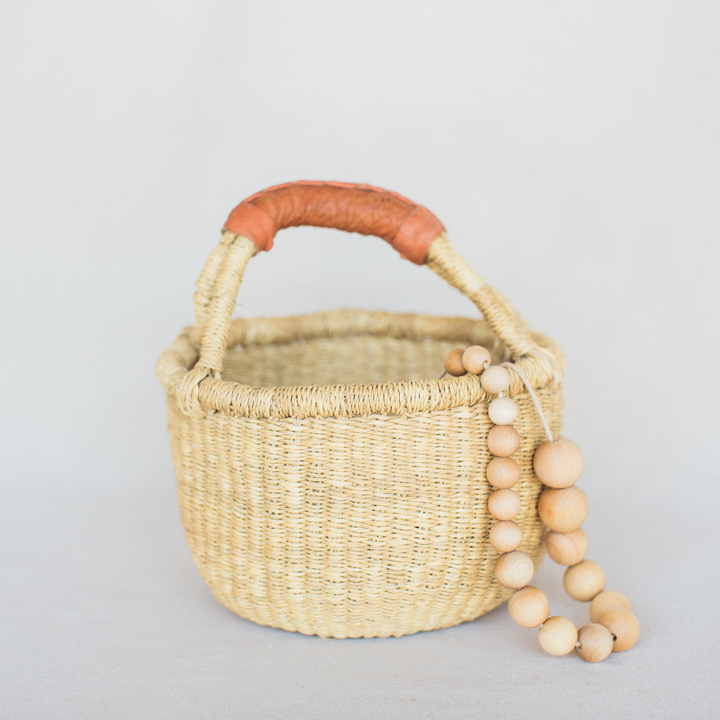 Midland : Baby Natural Bolga Basket with Leather Handle