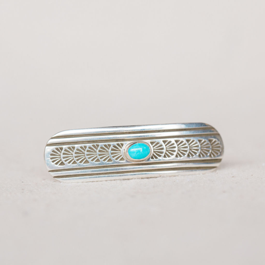 Navajo : Sterling Silver and Turquoise Barrette