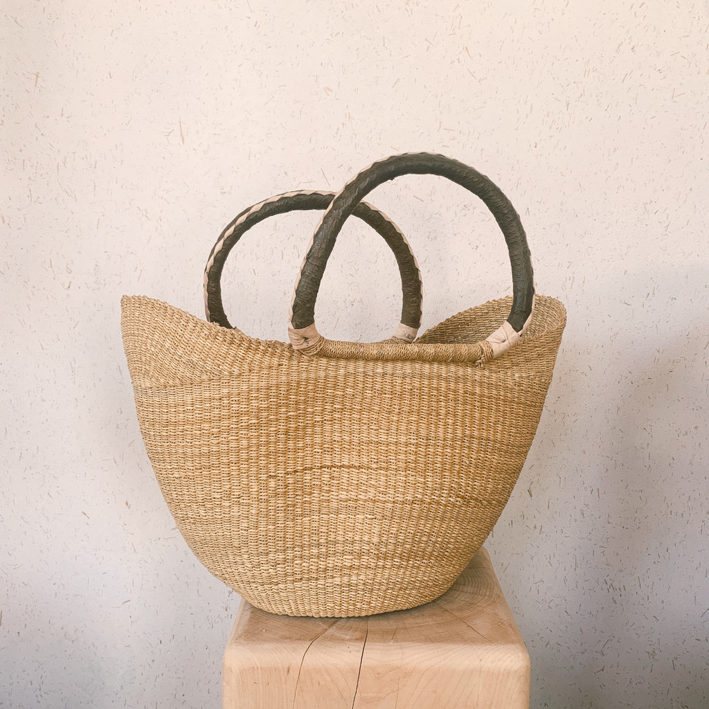 Midland : Natural Wing Shopper with Leather Handles