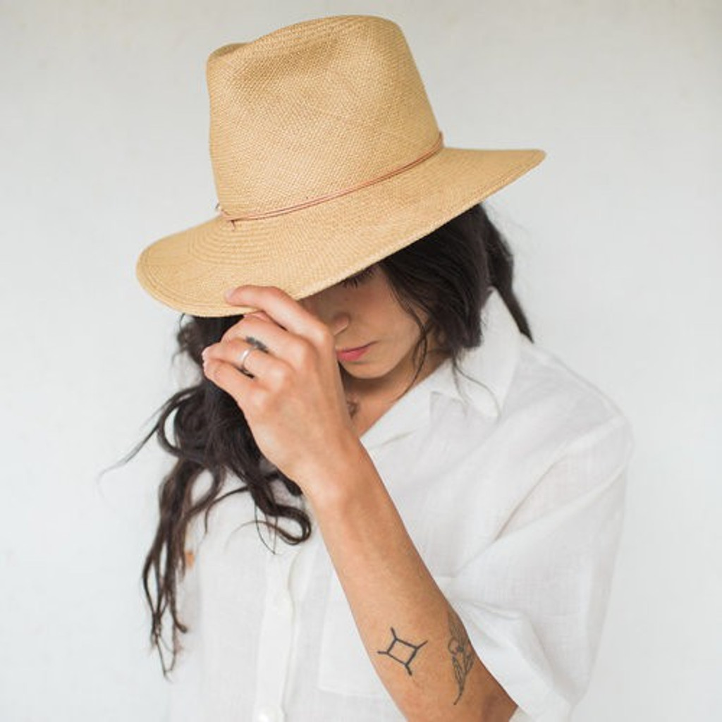 Brookes Boswell :  Prescott Panama Straw Hat in Tan