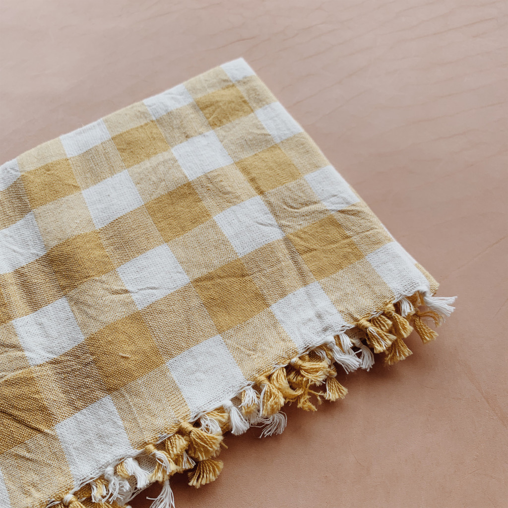 Heather Taylor Home : Gingham Tea Towel in Sunflower