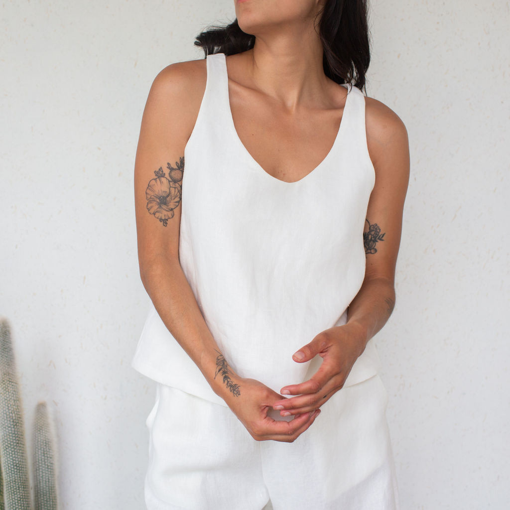 Rachel Craven : Linen Tank Top White