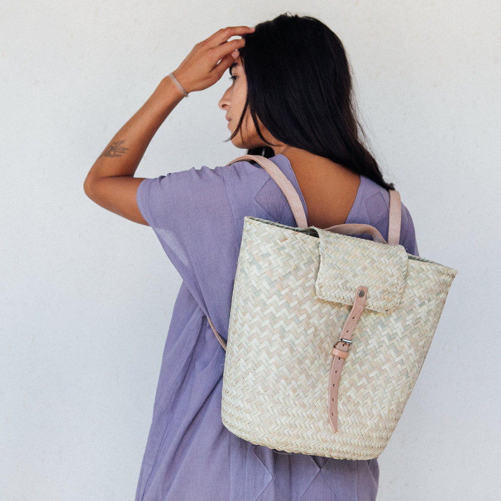 Luz : Las Palmas Straw Backpack