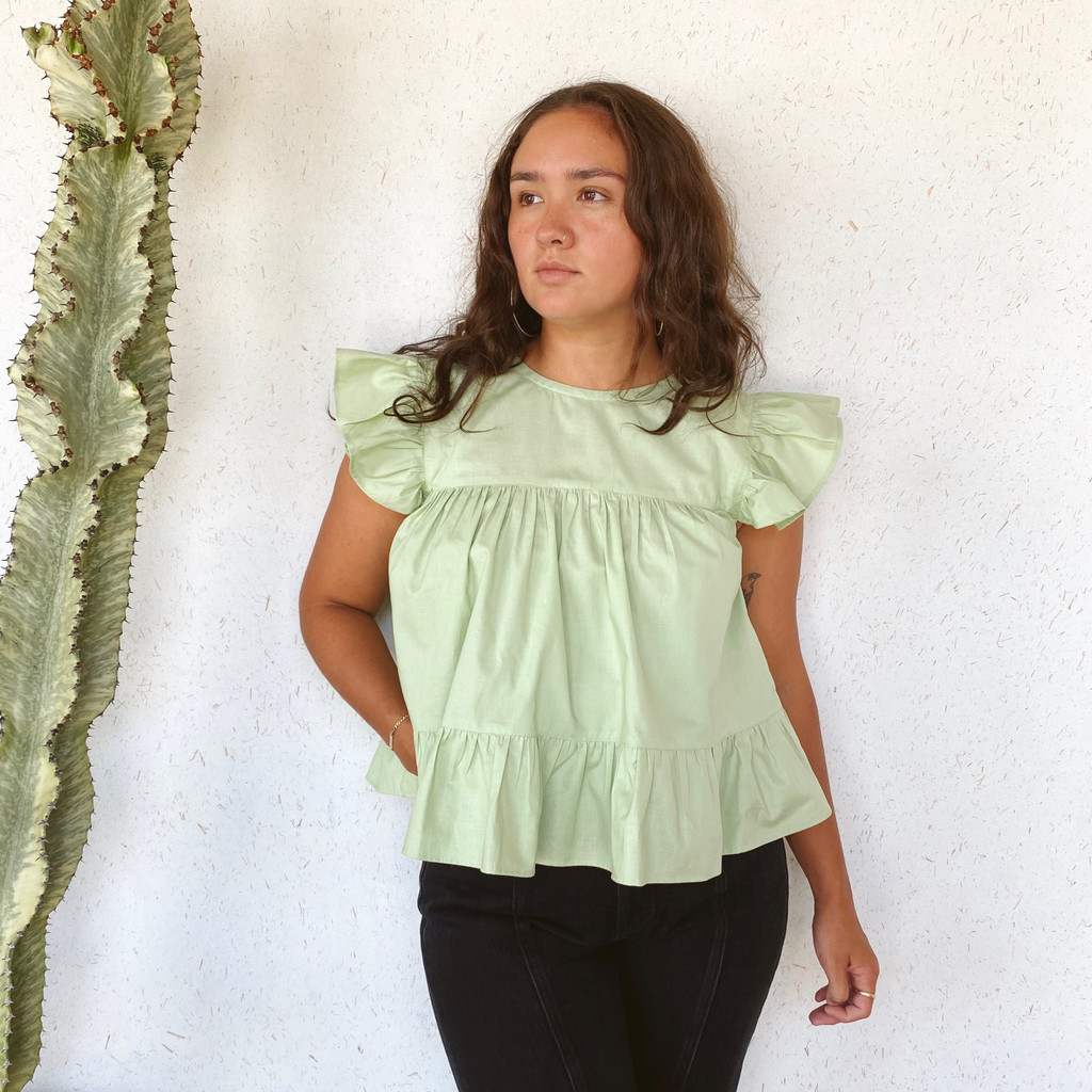 KKIBO : Ruffle Top in Green Tea