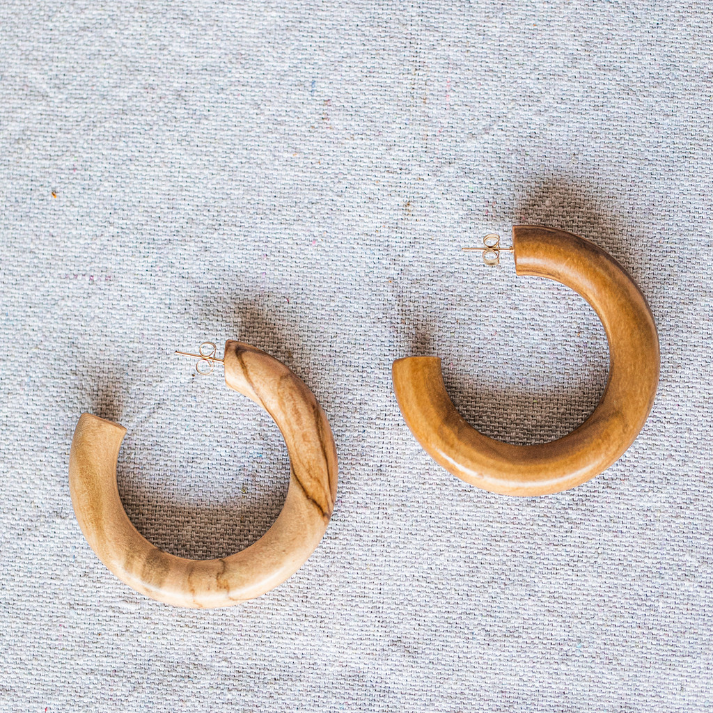 Sophie Monet : Olive Wood Hoops