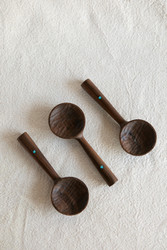 Four Leaf Woodshop : Walnut Scoop with Turquoise Inlay