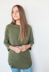 Jungmaven : Solid Raglan 3/4 Sleeve Supply Green