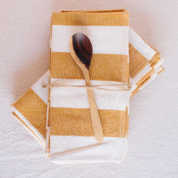 Heather Taylor Home : Milos Napkins in Stripe Goldenrod
