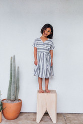 Nico Nico : Melody Stripe Wrap Dress Natural