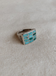 Navajo : Vintage Turquoise Inlay Grid Ring