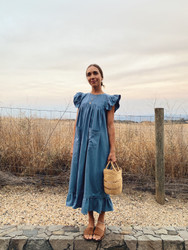 KKIBO : Long Ruffle Dress in Blue