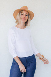 Me & Arrow : Cuff Sleeve Blouse in White Linen
