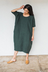 Rachel Craven : Long Cocoon Dress Midland Green
