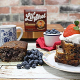 Make teatime or dessert memorable with our berry-bursting Blueberry Cake. Baked in small batches and exploding with tangy blueberries, this rich and decadent cake is a flavor experience just waiting to be shared. Warning: This is our most moonshiny cake…the blueberries just seem to soak up everything...