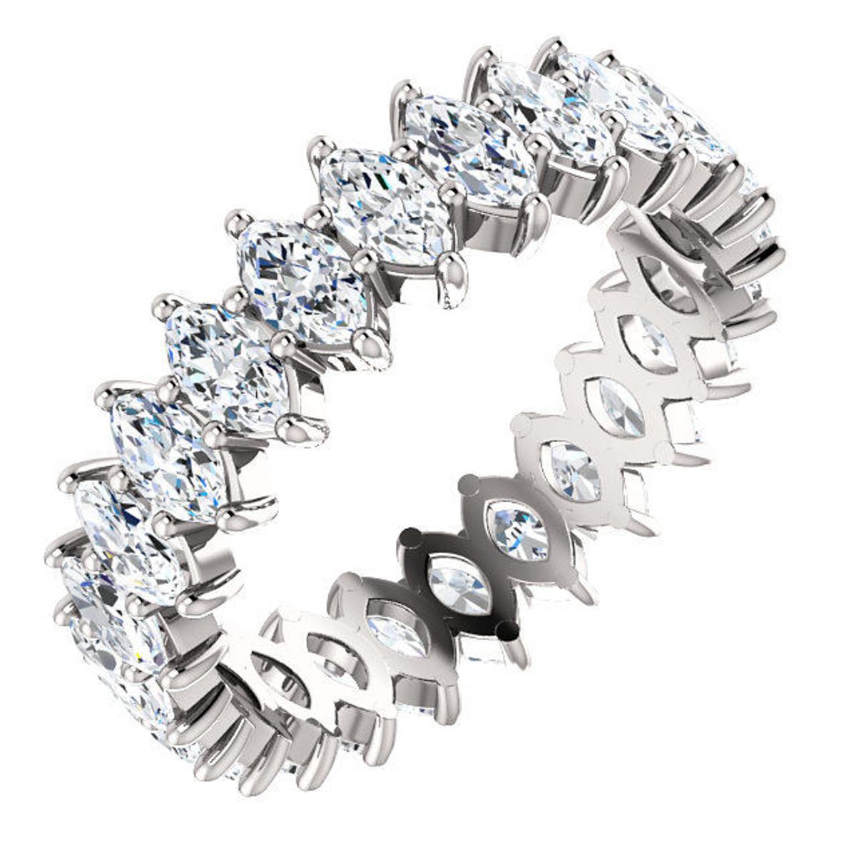 White Gold 3.0 ct tw Marquise Diamond Eternity Ring