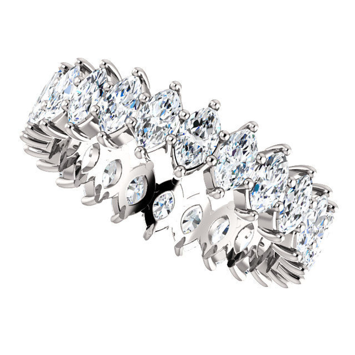 White Gold 3.0 ct tw Marquise Eternity Ring