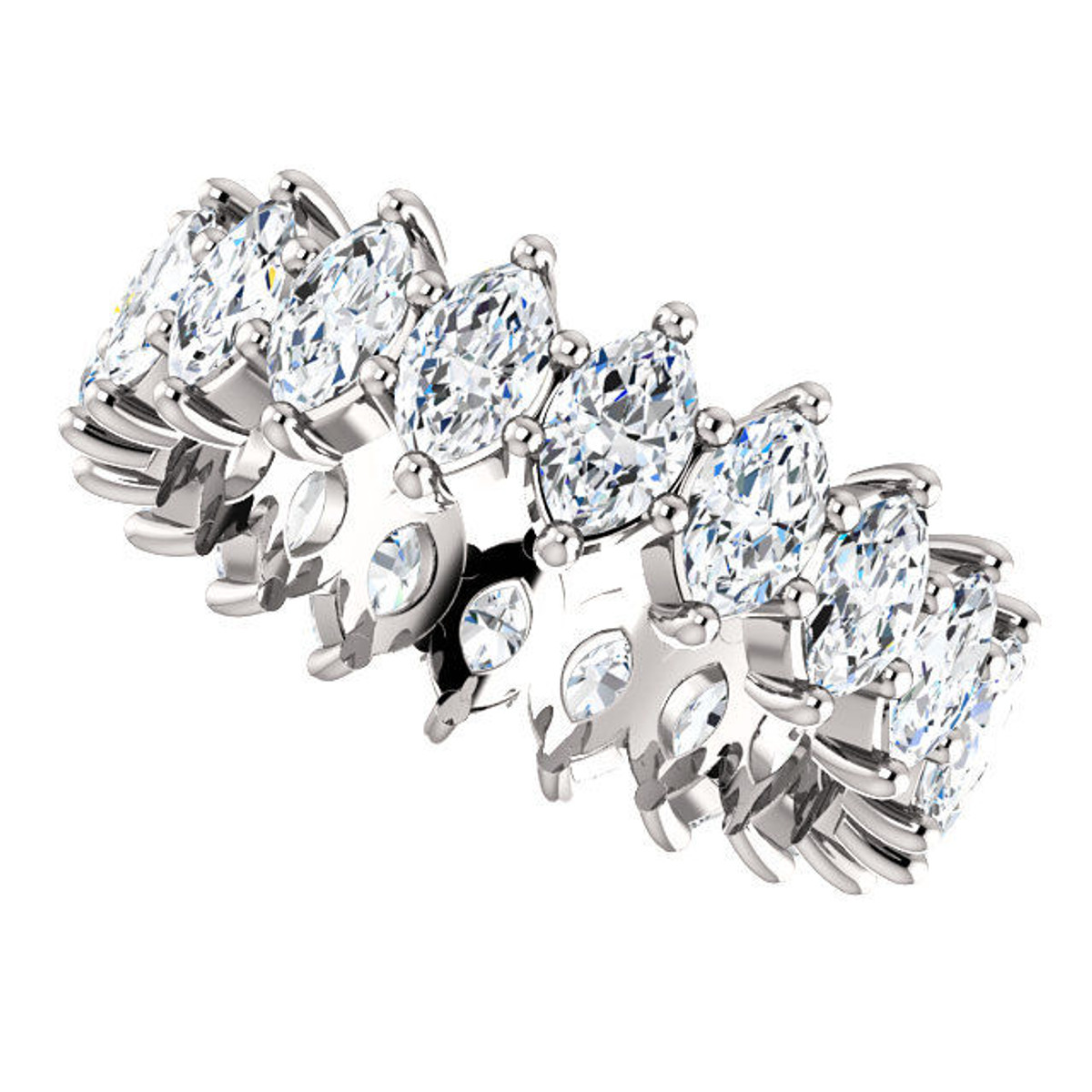 White Gold 4.0 ct tw Marquise Eternity Ring