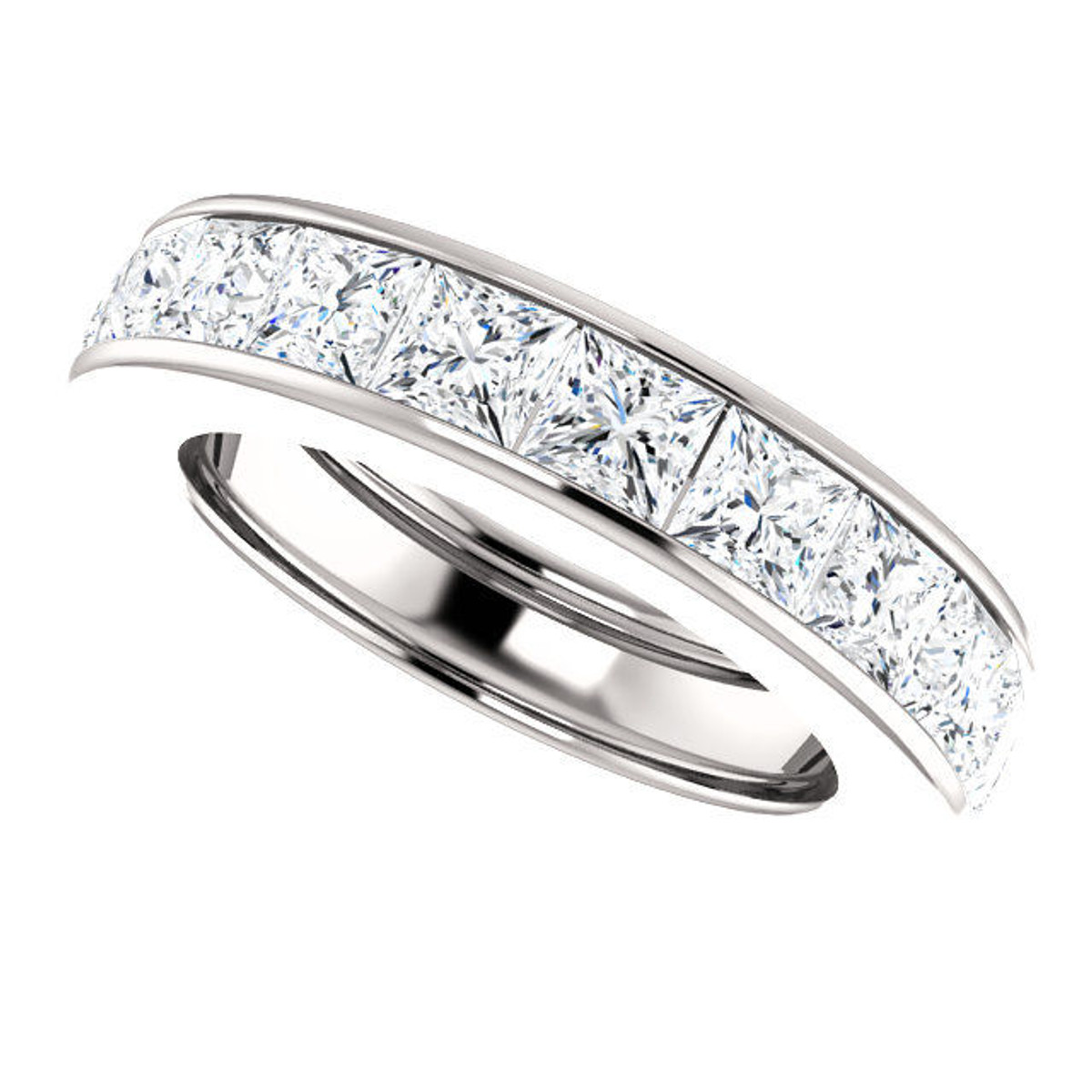 Platinum 4.6 ct tw Princess Cut Diamond Eternity Ring