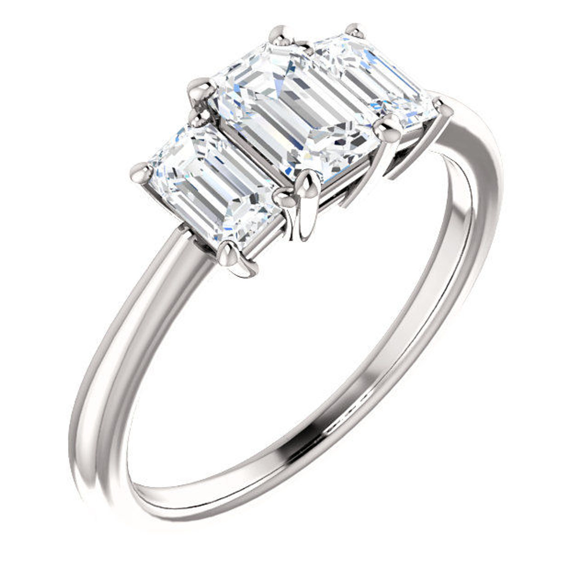 White Gold 3-Stone Emerald Cut Engagement Ring