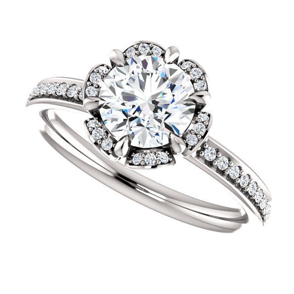 White Gold Flower Design Diamond Engagement Ring