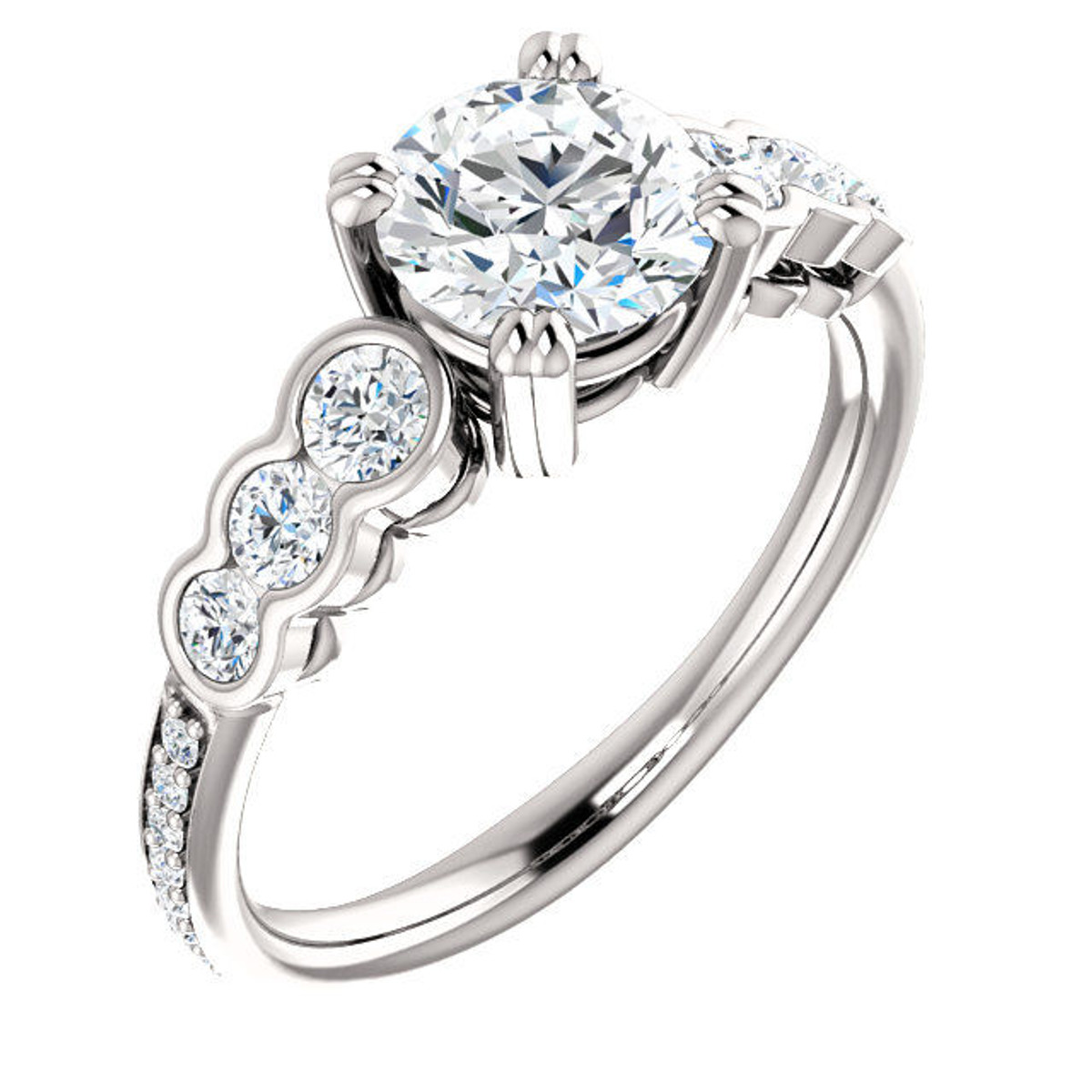 White Gold Diamond Accent Engagement Ring