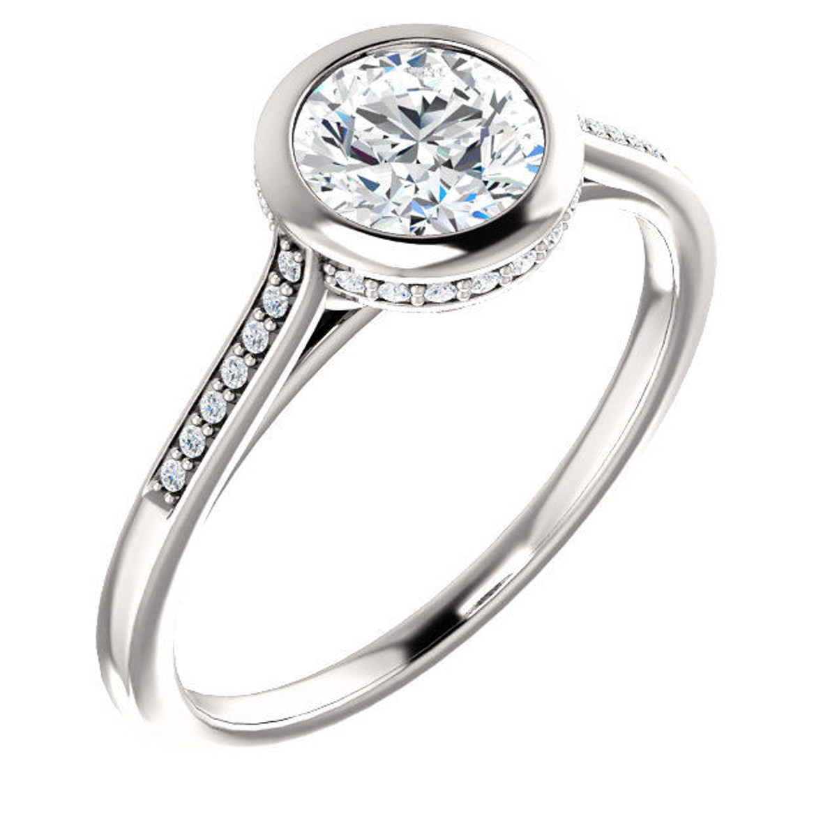White Gold Diamond Accent Round Engagement Ring