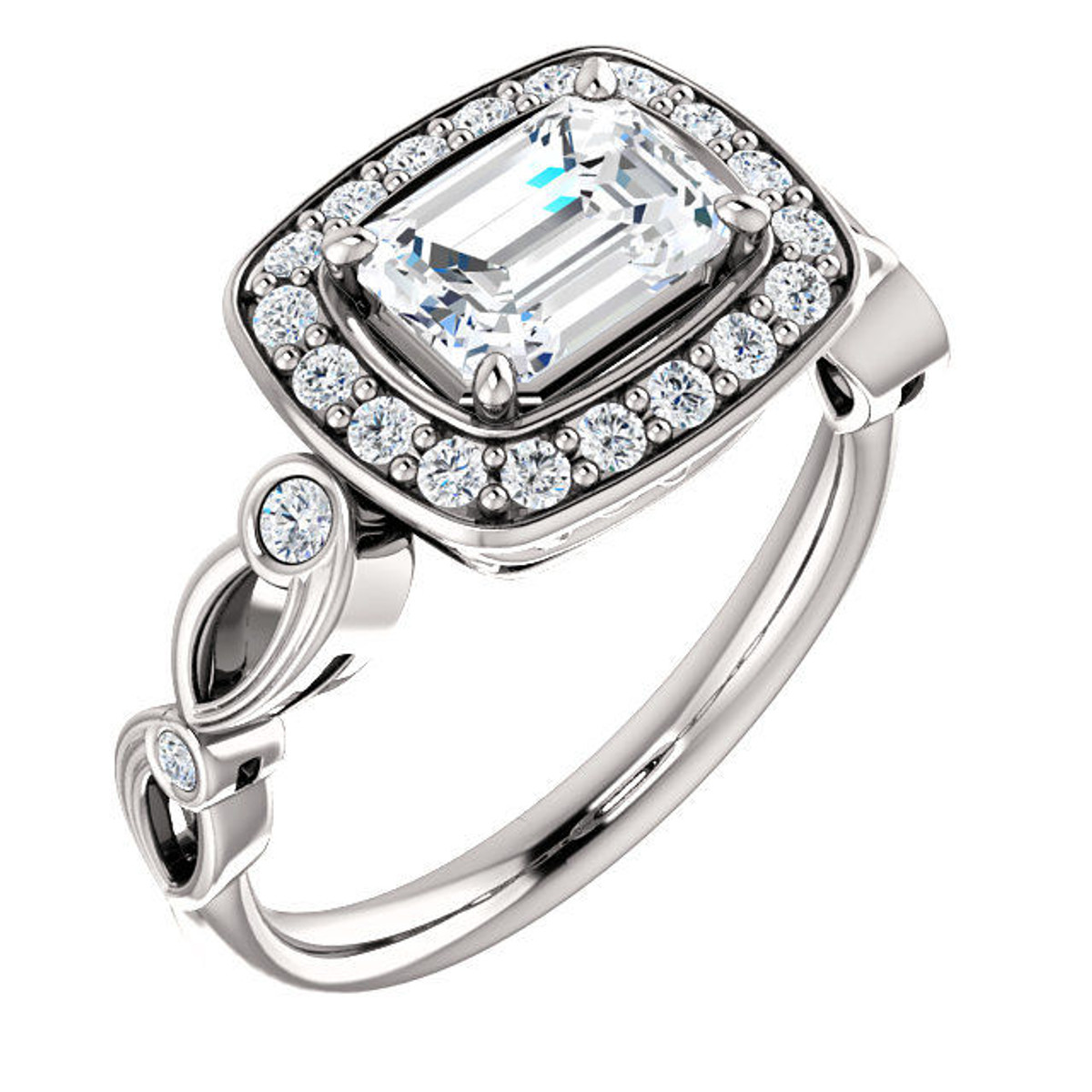 White Gold Emerald Cut Halo Engagement Ring