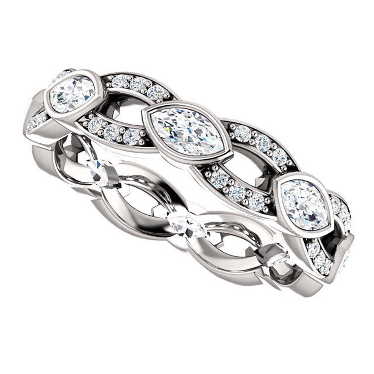 White Gold Marquise Diamond Eternity Ring