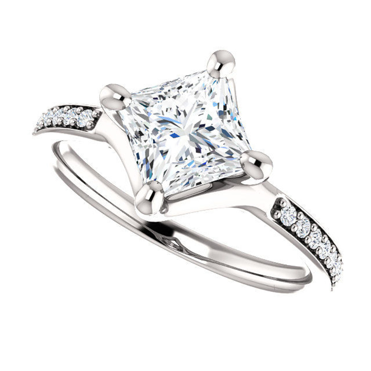 White Gold Princess Cut Diamond Accent Engagement Ring