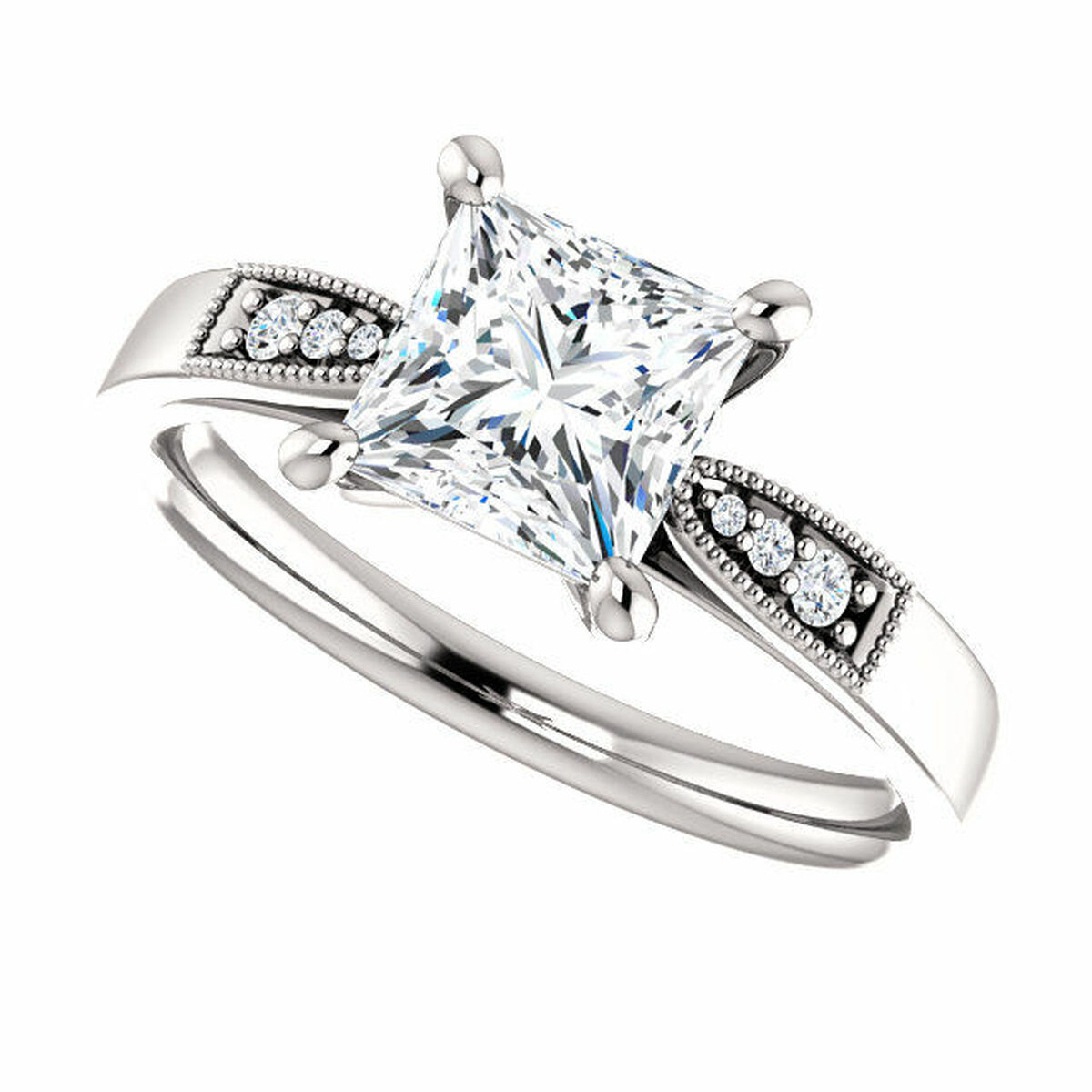 Princess Cut Diamond Accent Engagement Ring Princess Jewelry