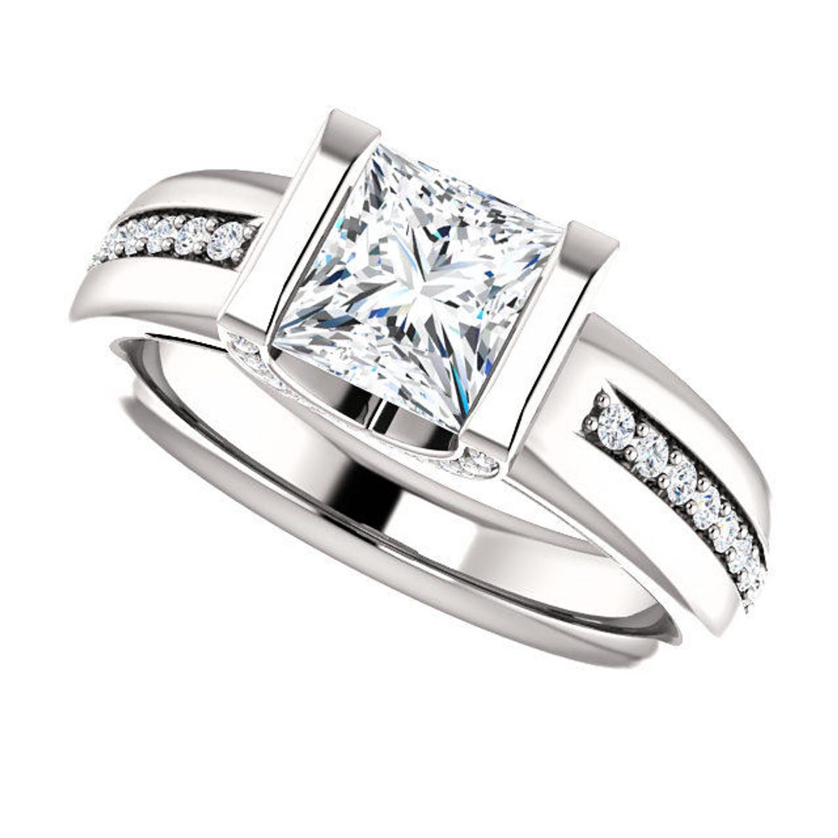 White Gold Princess Cut Diamond Engagement Ring