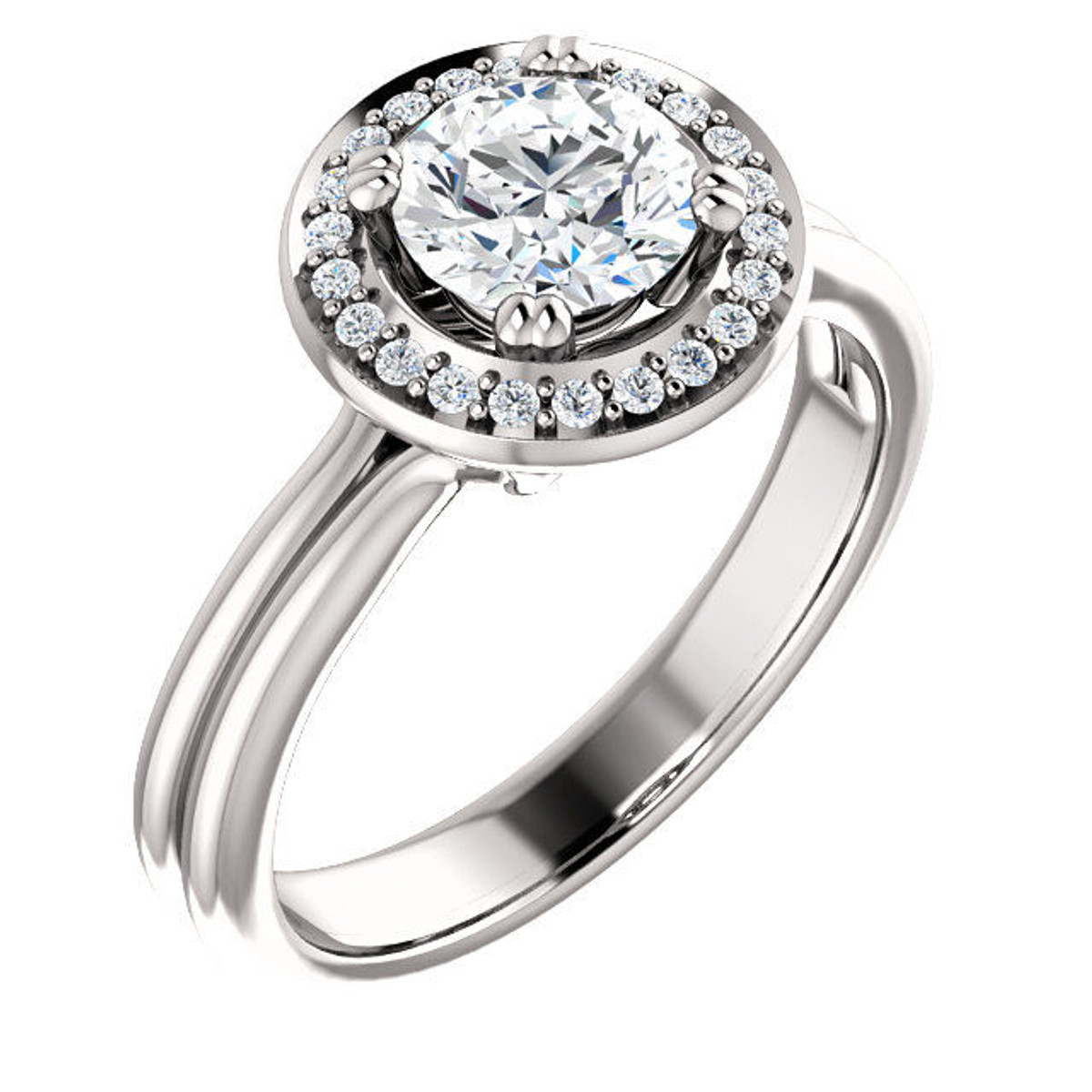 White Gold Round Cut Halo Engagement Ring