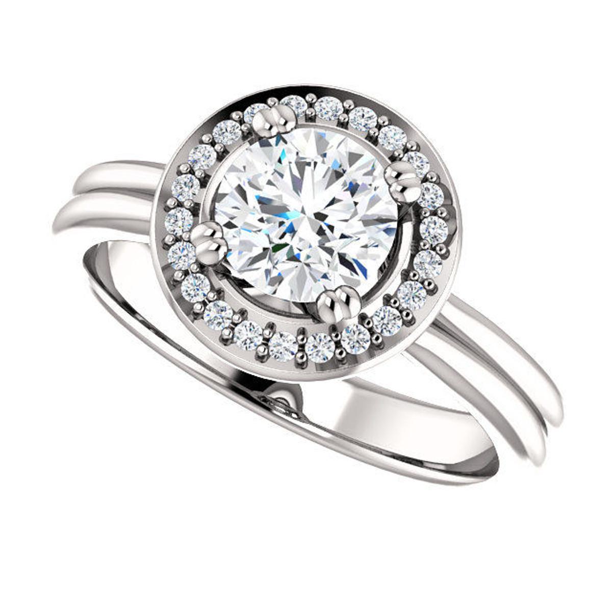 White Gold Round Halo Engagement Ring