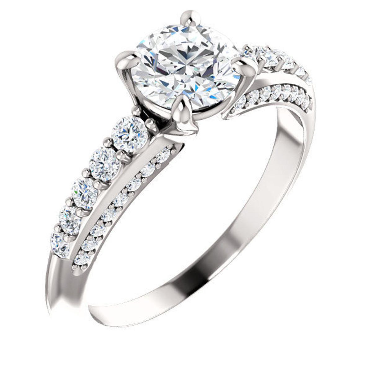 White Gold Round Diamond Accent Engagement Ring