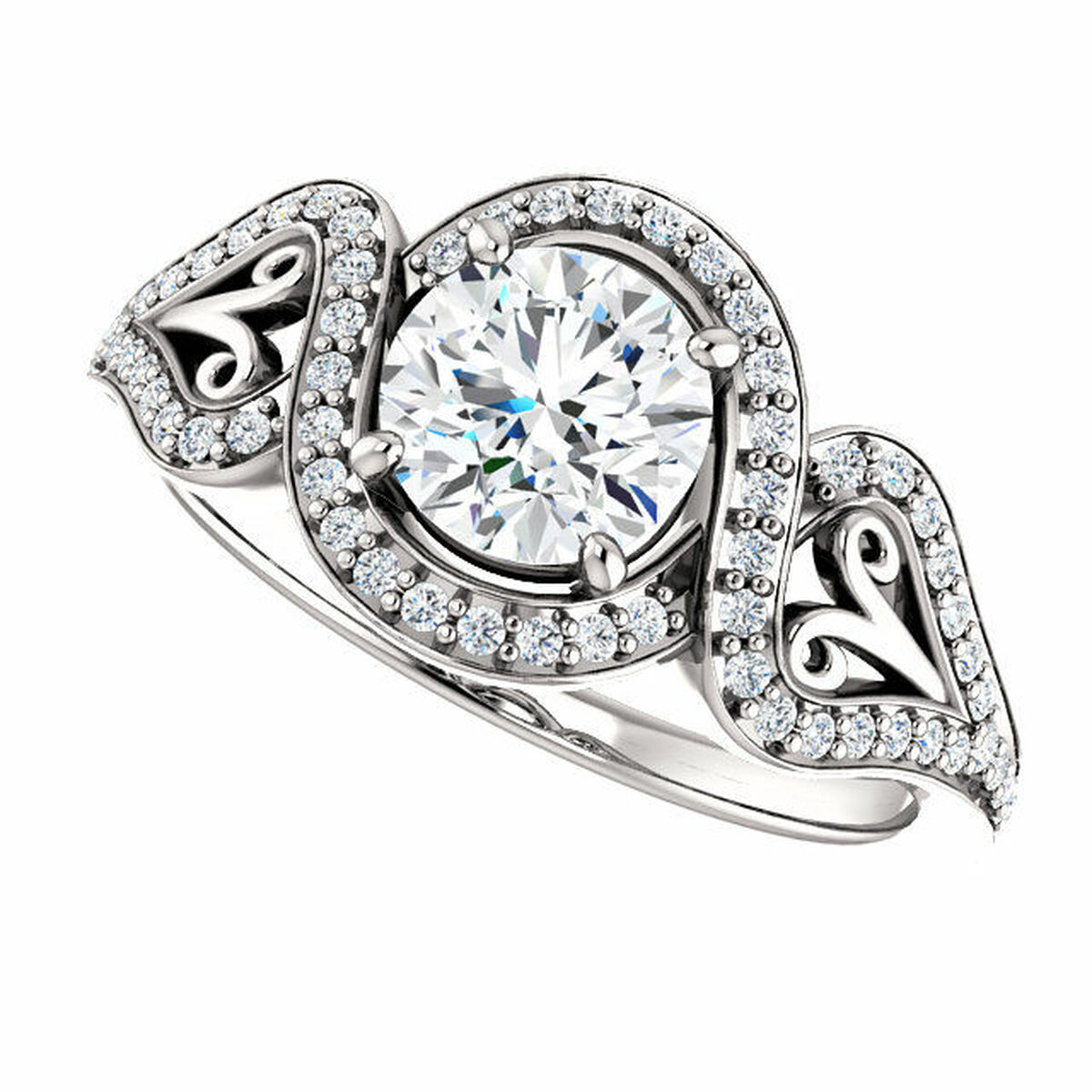 White Gold Round Engagement Ring