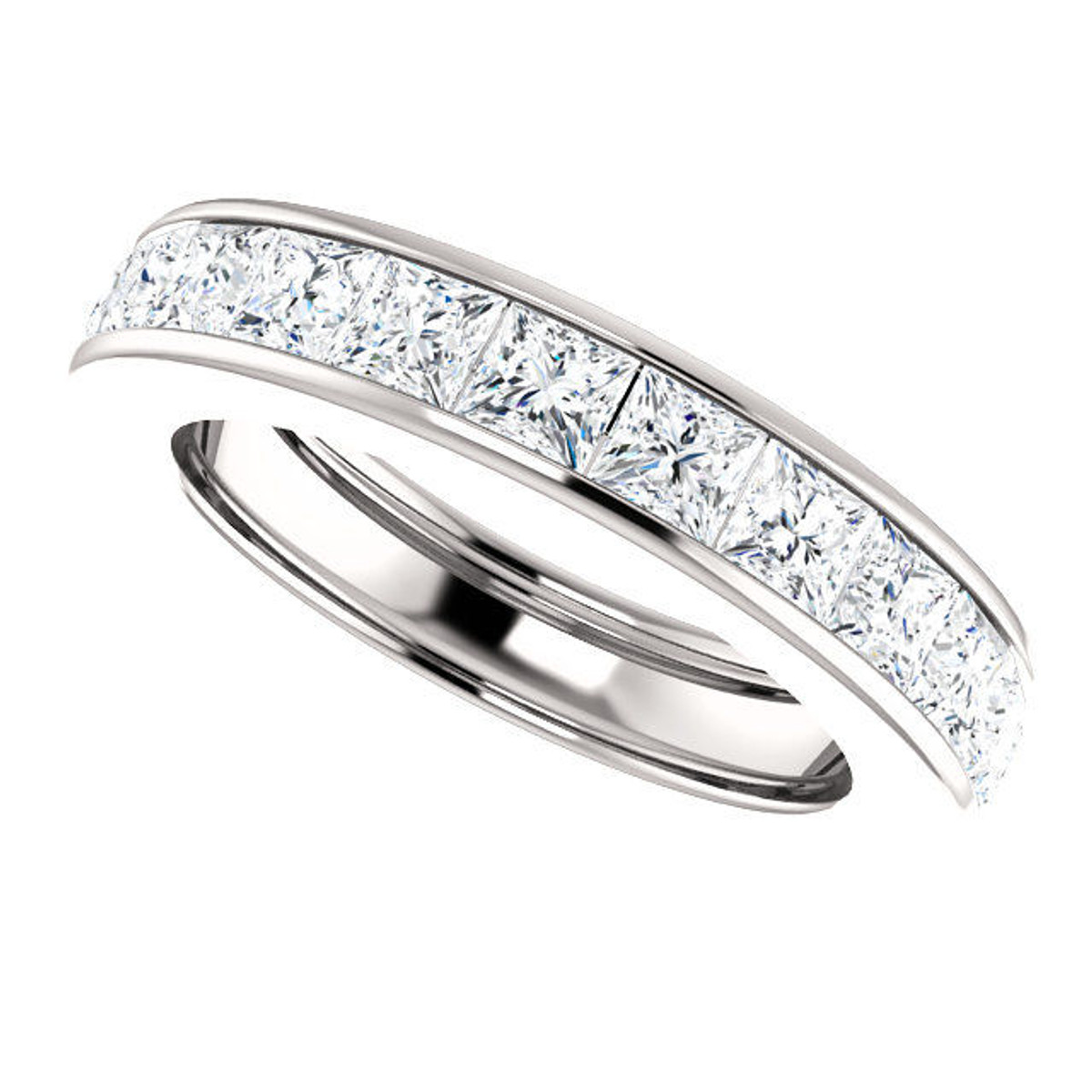 Platinum 3.9 ct tw Princess Cut Diamond Eternity Ring