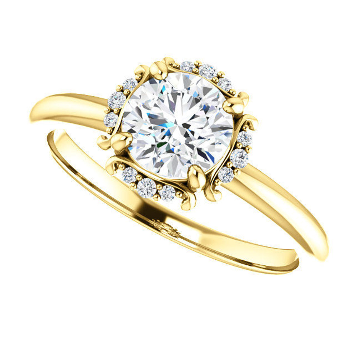 Yellow Gold Diamond Accent Engagement Ring