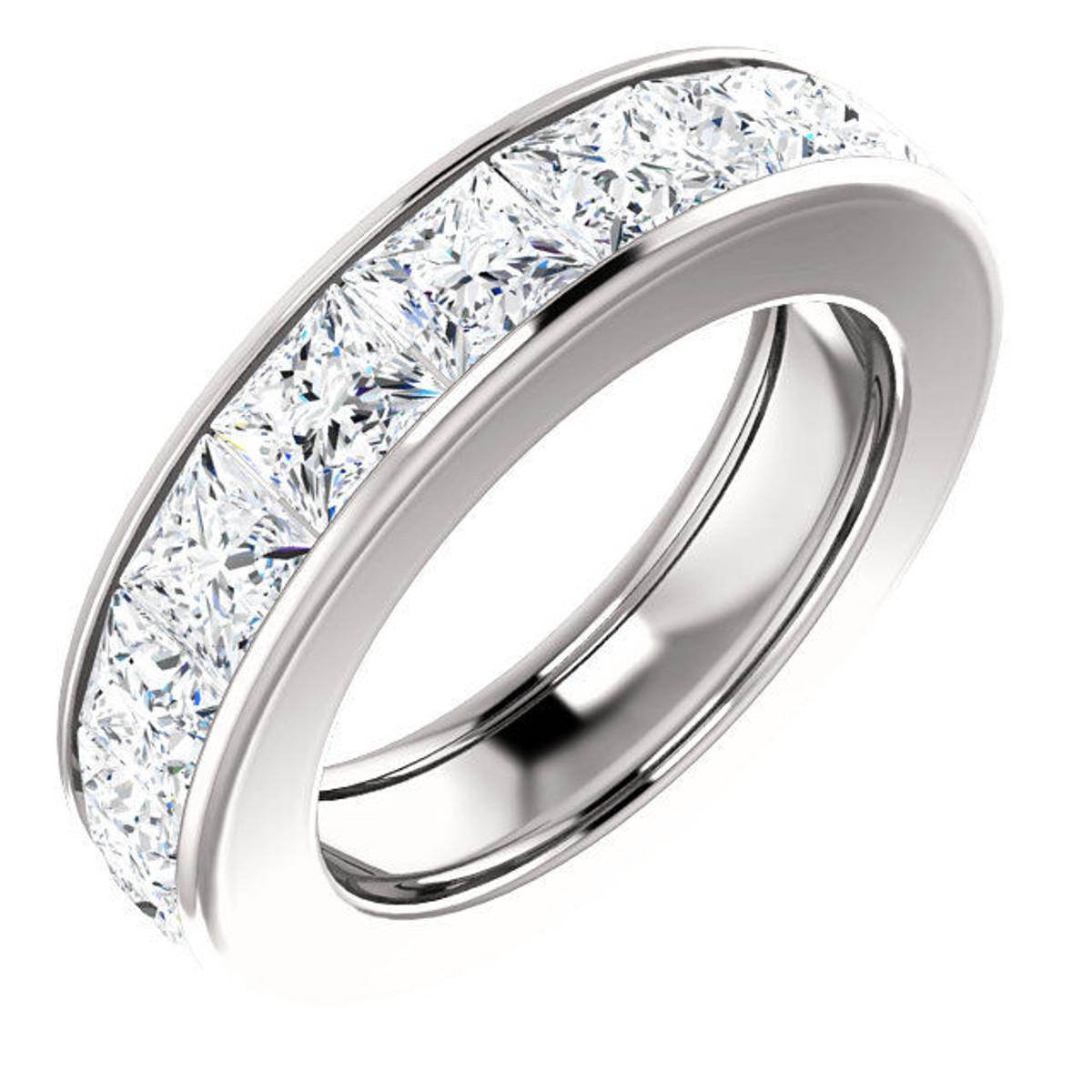 Platinum 7.2 ct tw Princess Cut Diamond Eternity Ring