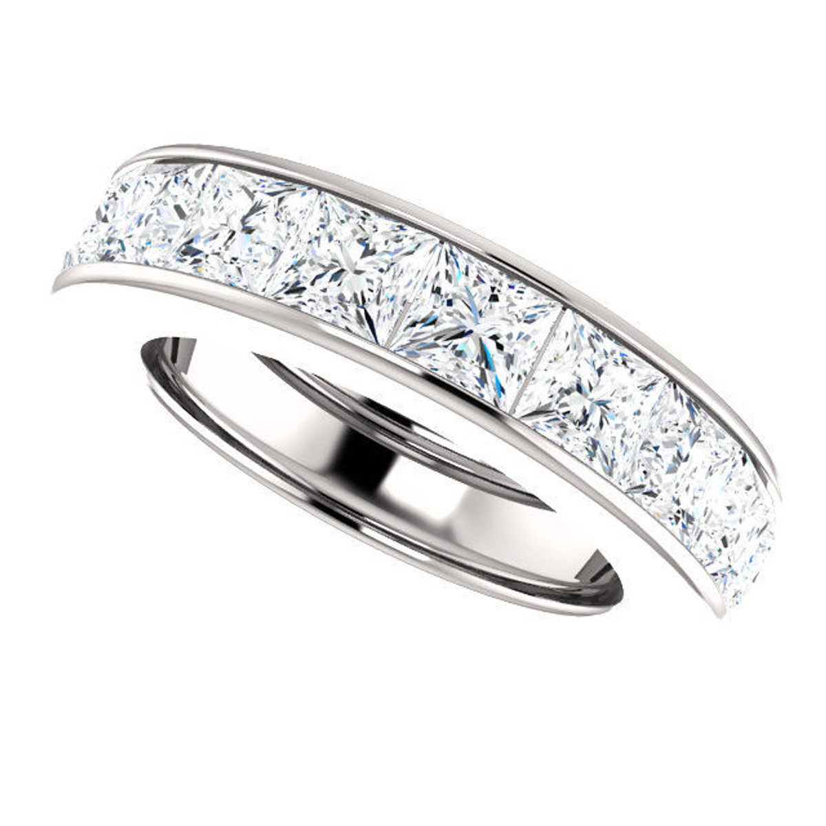 Platinum 7.2 ct tw Princess Cut Diamond Eternity Ring