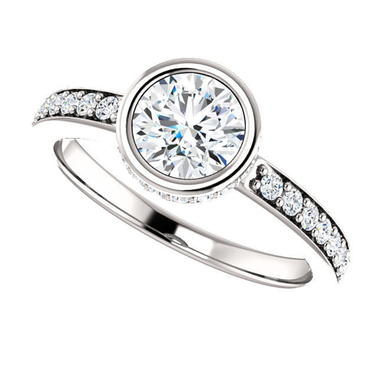 White Gold Diamond Accents Engagement Ring