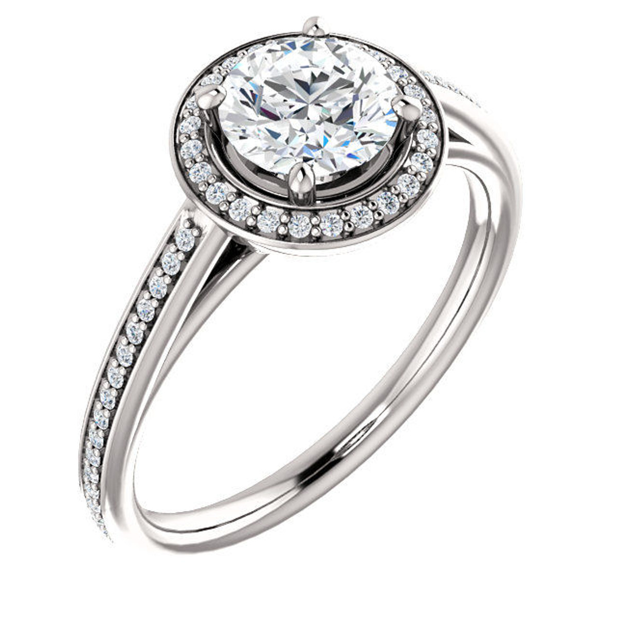 White Gold Round Cut Halo Diamond Engagement Ring