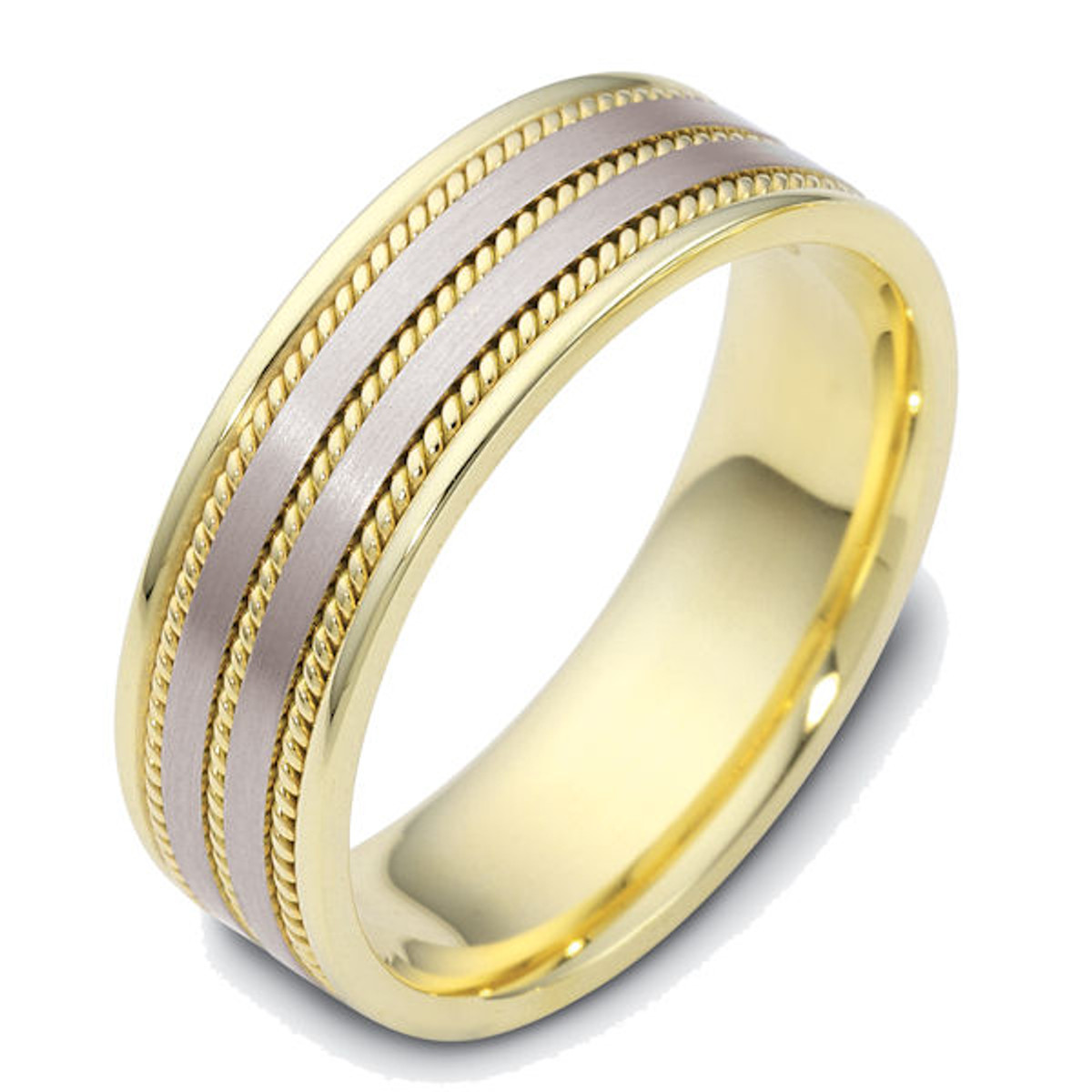 14Kt Two-Tone Gold Rope Wedding Ring
