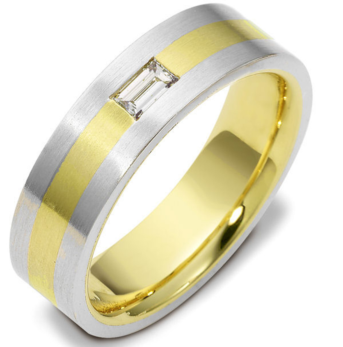 14Kt Two-Tone Gold Straight Baguette Diamond Wedding Ring