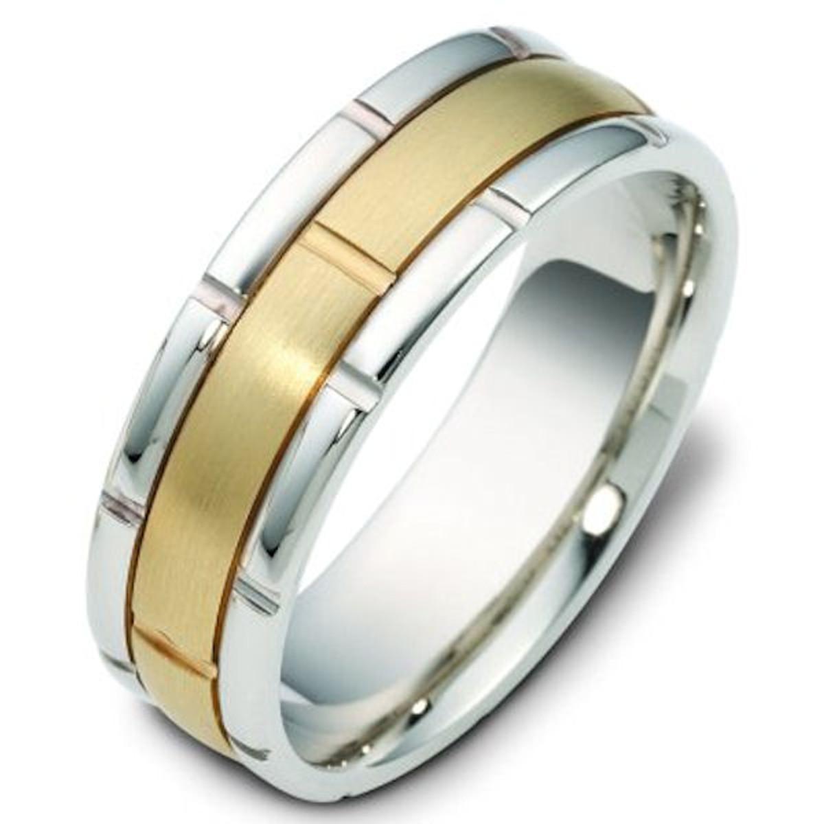 14Kt Two-Tone Gold Brick Wedding Band