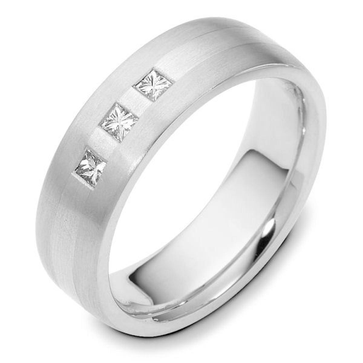 Platinum 3-Stone Princess Cut Diamond Wedding Ring